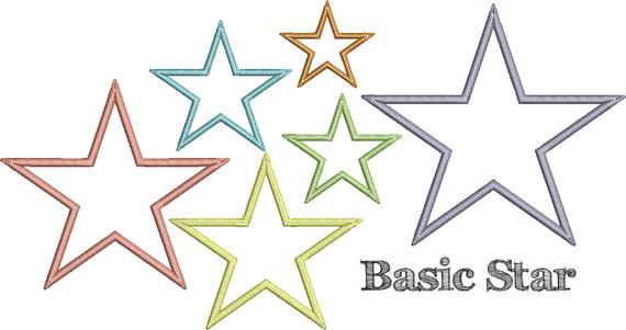 Basic star applique design instant download digital file
