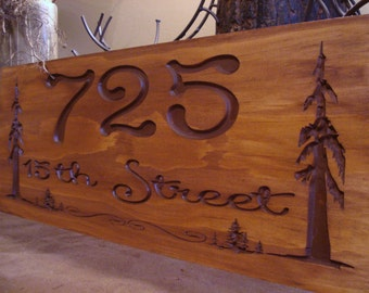 Carved Rustic Address Signs Pine Tree Redwood Forest Primitive wood carved Sign Evergreen Trees Cabin Cottage Fathers Day Gift Idea