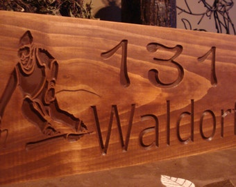 Personalized Wood Sign, Carved Wooden Address Plaque, Address Sign with downhill skier, Mountain Home, Rustic Sign, Outdoor Cabin Sign, snow