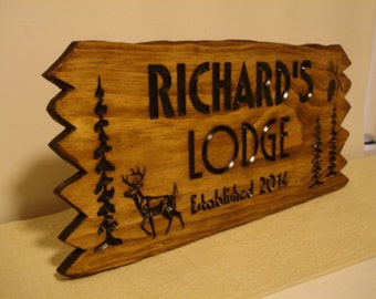 Lodge Ranch Cabin Cottage Rustic Camping Signs Wooden Carved Welcome Signs Name Trees Pinecone Address Plaque gift ideas Benchmark Signs