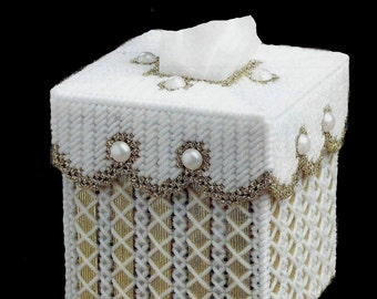 GOLDEN RIBBON - Elegant Boutique Size Tissue Box Cover - Lots if Extras