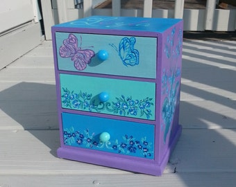 any color and design,personalized jewelry box, blue and purple ,flower girl gift, bridesmaid gift