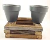 Grey/Gray Plant Pot - Hanging Planter - Decor - 4 Inch Terracotta Plant Pots