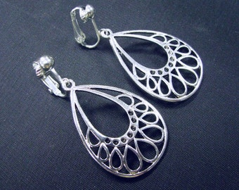 Clip Earrings,  Dangle Earrings, Silver Filigree Drop Earrings, Clip On Earrings