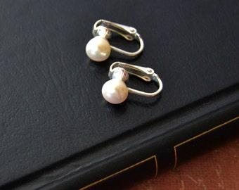 Pearl Clip Earrings, Small Silver Pearl Earrings, Pearl Drop Earrings, Clip On Earrings, Non Pierced Earrings