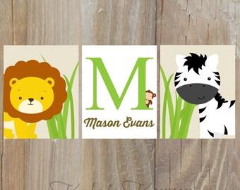 JUNGLE NURSERY ART - Jungle nursery decor - safari nursery - Animal nursery - childrens wall art - nursery print set