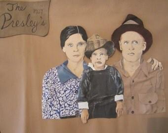 ELVIS FAMILY Portrait 1937 in Leather 3D! Hangs 29 x 20