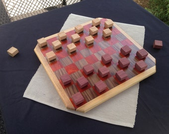 Handmade Exotic Wood Checkers Set ***FREE SHIPPING***