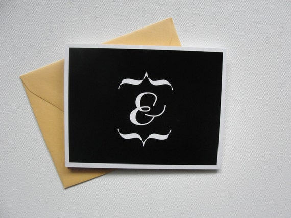 "Set of 8 / ""Ampersand"" Note Cards / Blank Inside / Wedding Thank You Cards / Black and White / Stationery Box"