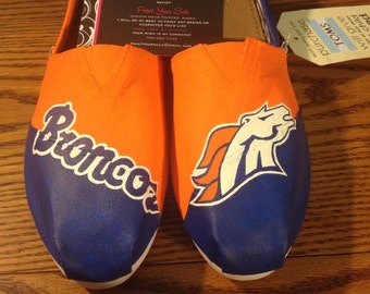Hand Painted Broncos Toms- NOTE: Personalized to any design, college, or character(s) you want