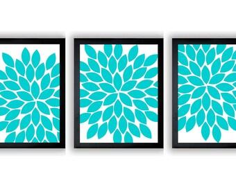 Flower Print White Turquoise Blue Chrysanthemum Flower Set of 3 Art Print Wall Decor Bathroom Modern Minimalist