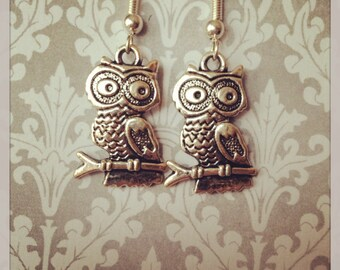 Silver Plated Owl Pendant Earrings
