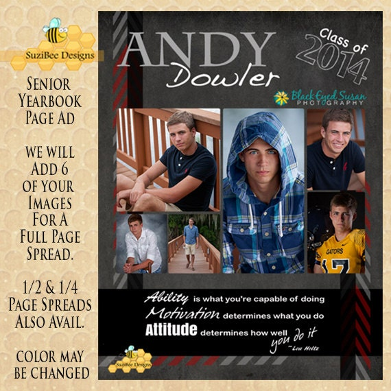 Yearbook ad template high school senior middle for High school football program template
