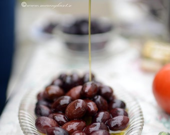 Black Olives in EVOO, Greek Home Grown Olives, Kalamata Olives, Greek Food, Olives in Extra Virgin Olive Oil with Savory, 300 gr