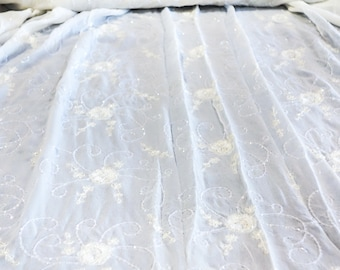 Ivory Silk Georgette Fabric with hand Beaded Scrolling Floral Decorations