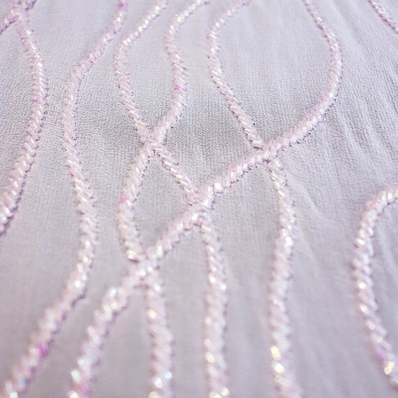 pink silk georgette fabric with pink beaded wavy lines