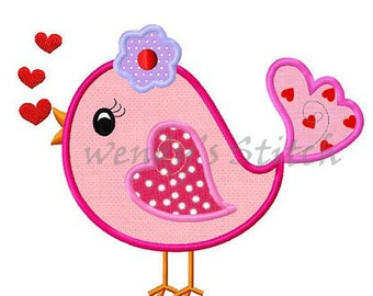 Valentine love bird #2 applique machine embroidery design digital pattern