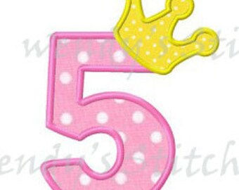 Princess crown number 5 applique machine embroidery design dgital pattern