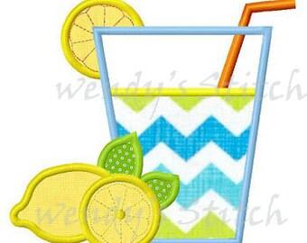 Lemonade drink applique machine embroidery design digital pattern