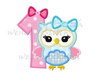 First birthday girly owl applique machine embroidery design instant download