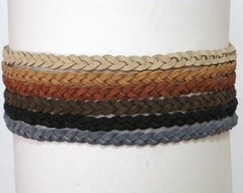 Leather Braided Headband, Hippie Headband Boho Hairband, Indie Headband Halo Headband comfortable - brown, rust, tan or black suede