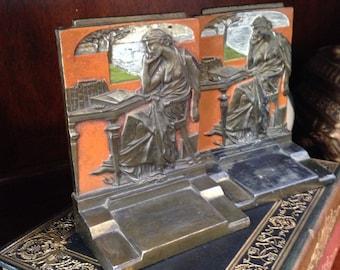 Art Nouveau Bronze Pair of heavy Bookends