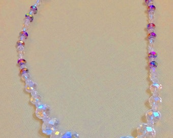 Crystal necklace, clear with purple accents