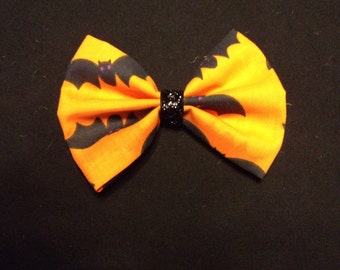 Orange Bats Hair Bow