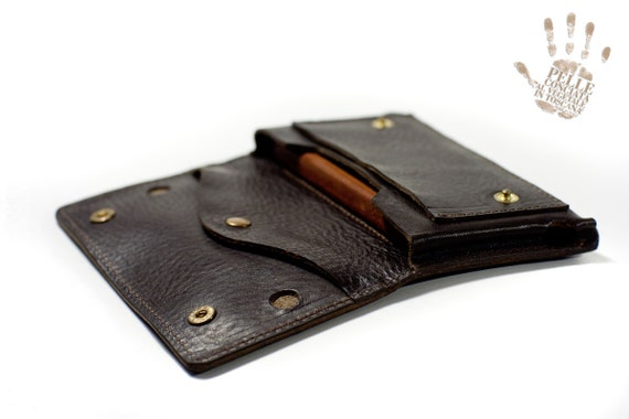 iPhone leather wallet for iPhone 6S 6S PLUS 5S 4S choose device Genuine Leather Sleeve for use as a belt pouch colour dark brown