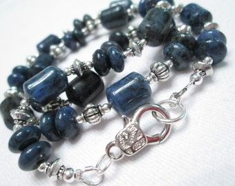 Dumortierite and Silver Beaded Necklace