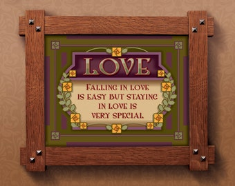 Arts and Crafts Framed Print. Falling in love subject. Great for Arts and Crafts, Mission style and Craftsman homes.