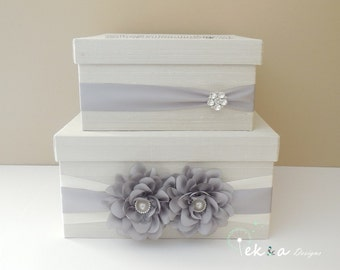 Wedding gift card box/ wedding card box / money box / wedding card holder / 2 Tier (Ivory & Silver)