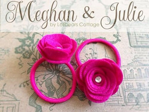 Hot Pink Felt Ponytail Holders // Meghan and Julie ponytail holders //  Pink a ponytail Holders // Fuchsia Ponytail Holders