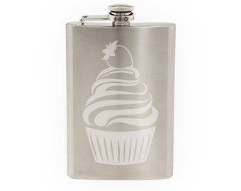 Cute Cupcake #3 - Strawberry Whipped Ice Cream Topping - Etched 8 Oz Stainless Steel Flask