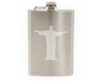 Famosa estatua #2 - Cristo el Redentor brasileño Jesús - grabado al agua fuerte frasco de acero inoxidable de 8 Oz