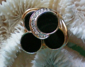 Black Onyx Rhinestone Ring - 3368