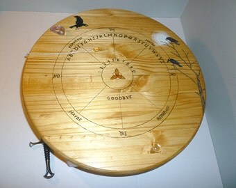Handcrafted Wiccan Altar Table with Pendulum Board, Wiccan Furniture, Wiccan Table, Ouija Board Table