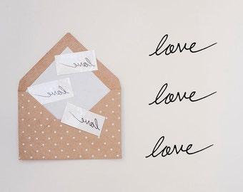 3pcs Love Temporary Tattoo // Love Fake Tattoo // Handwritten Love Tattoo // Calligraphy Temporary Tattoo