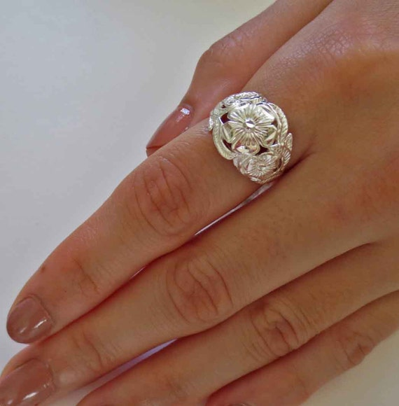 sterling silver floral dome ring vintage finger ring index