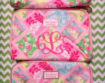 Monogrammed Lilly Pulitzer Patch 50th Anniversary Jubilee Makeup Bag Monogram Personalized Cosmetic