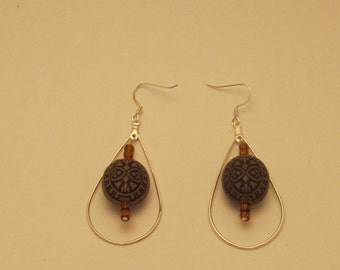 Silver & Wood  Earrings