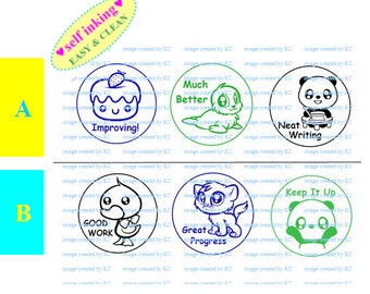 Teacher Stamp : Self-inking Stamp Set (educational / encouragement)
