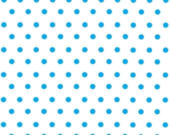 White with cyan polka dots craft  vinyl sheet - HTV or Adhesive Vinyl -  polka dot pattern   HTV29