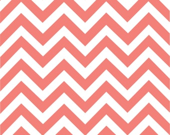Coral chevron craft  vinyl sheet - HTV or Adhesive Vinyl -  coral and white large zig zag pattern   HTV110