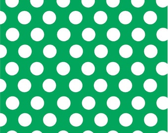 Green with white dots craft  vinyl sheet - HTV or Adhesive Vinyl -  large white polka dot pattern HTV739
