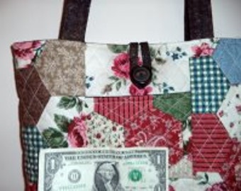 Quilted Purse, Patchwork Design with Brown Bottom
