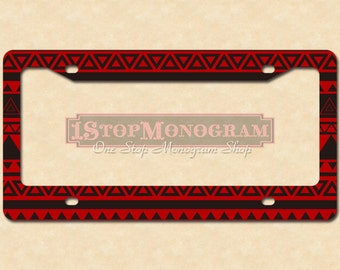 Customized License Plate Frame Black And Red Aztec