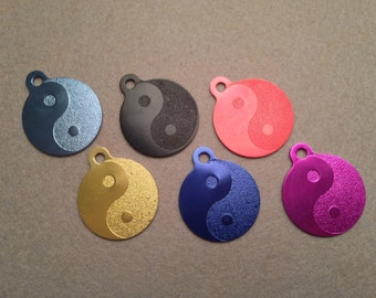 Laser Engraved Personalized Yin Yang Dog or Cat Pet ID Tag - Custom Engraved Pet Tag