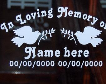 Custom In loving memory of with Doves vinyl decal window sticker