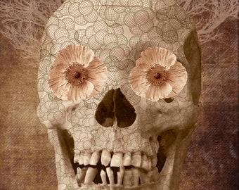 Skull Human Vintage Flowers Digital Collage Sheet Download Fabric Illustration Picture Art